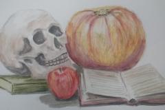 1810 Halloween Still Life Drawing