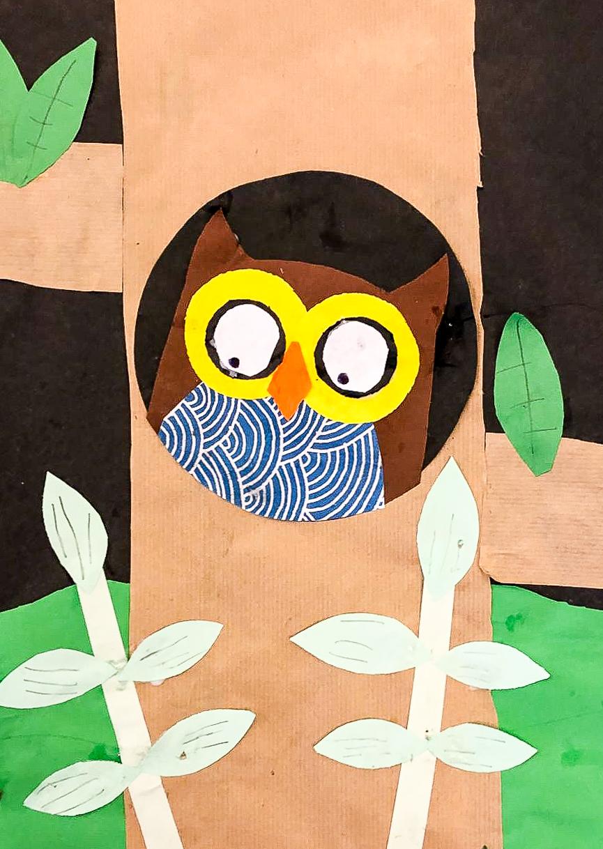Artzone Junior September Owl Collage  5-7 y/o