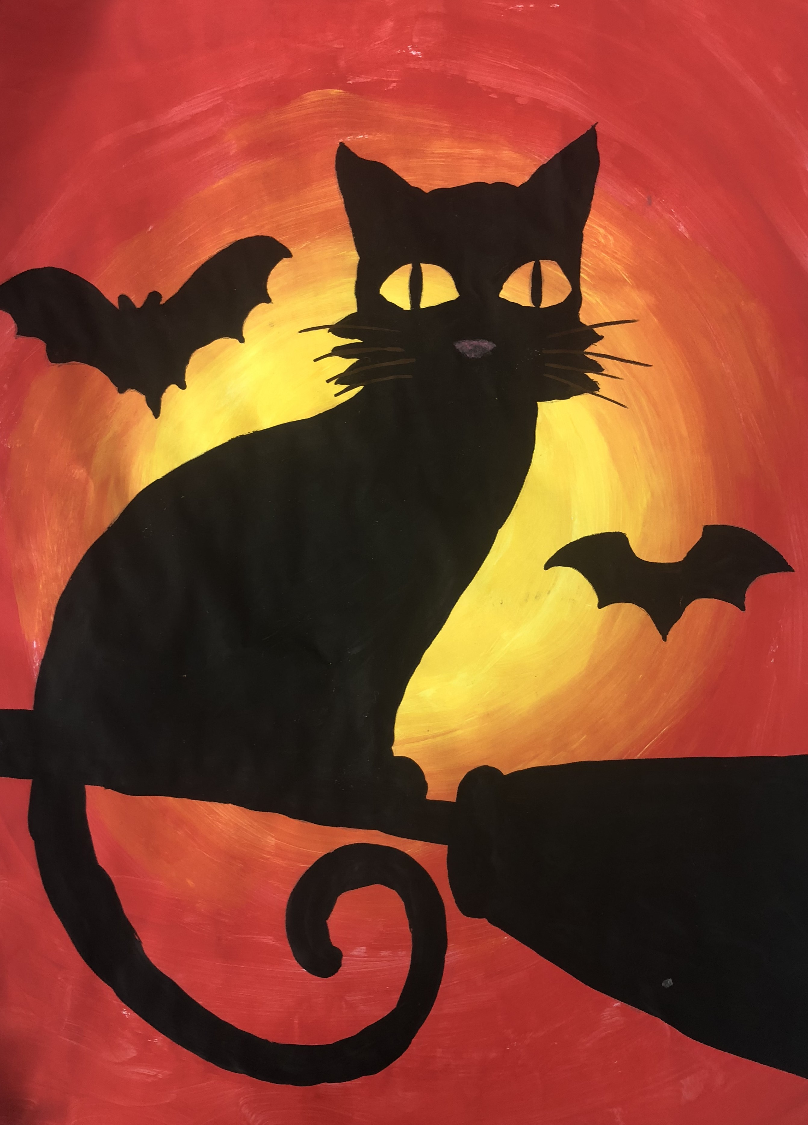 1811 Juniors Black Cat Silhouette Painting 2